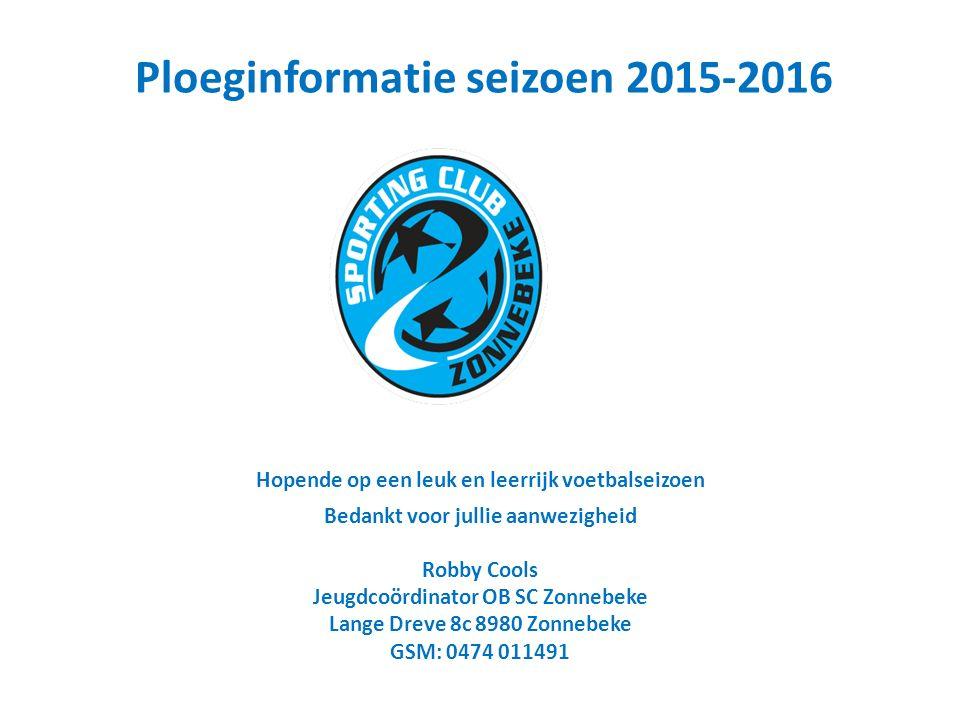 Hopende op een leuk en leerrijk voetbalseizoen Bedankt voor jullie aanwezigheid Robby Cools Jeugdcoördinator OB SC Zonnebeke Lange Dreve 8c 8980 Zonnebeke GSM: 0474 011491 Ploeginformatie seizoen 2015-2016