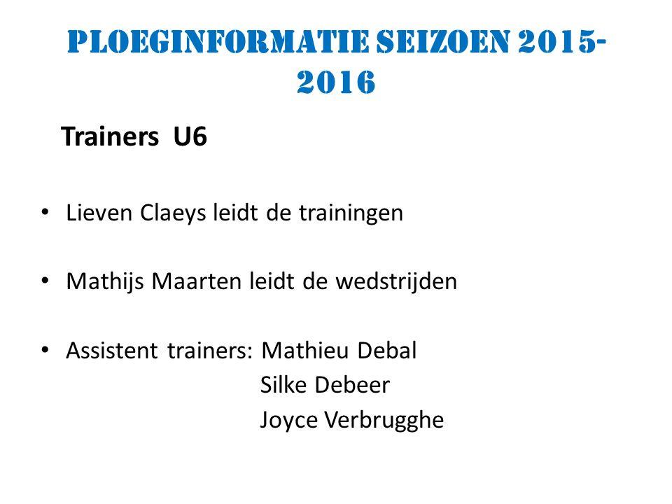Ploeginformatie seizoen 2015- 2016 Trainers U6 Lieven Claeys leidt de trainingen Mathijs Maarten leidt de wedstrijden Assistent trainers: Mathieu Debal Silke Debeer Joyce Verbrugghe