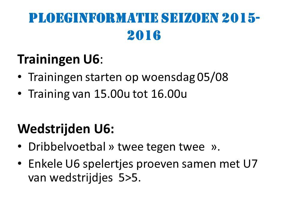 Ploeginformatie seizoen 2015- 2016 Trainingen U6: Trainingen starten op woensdag 05/08 Training van 15.00u tot 16.00u Wedstrijden U6: Dribbelvoetbal » twee tegen twee ».