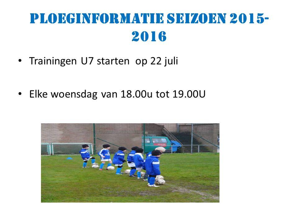 Ploeginformatie seizoen 2015- 2016 Trainingen U7 starten op 22 juli Elke woensdag van 18.00u tot 19.00U