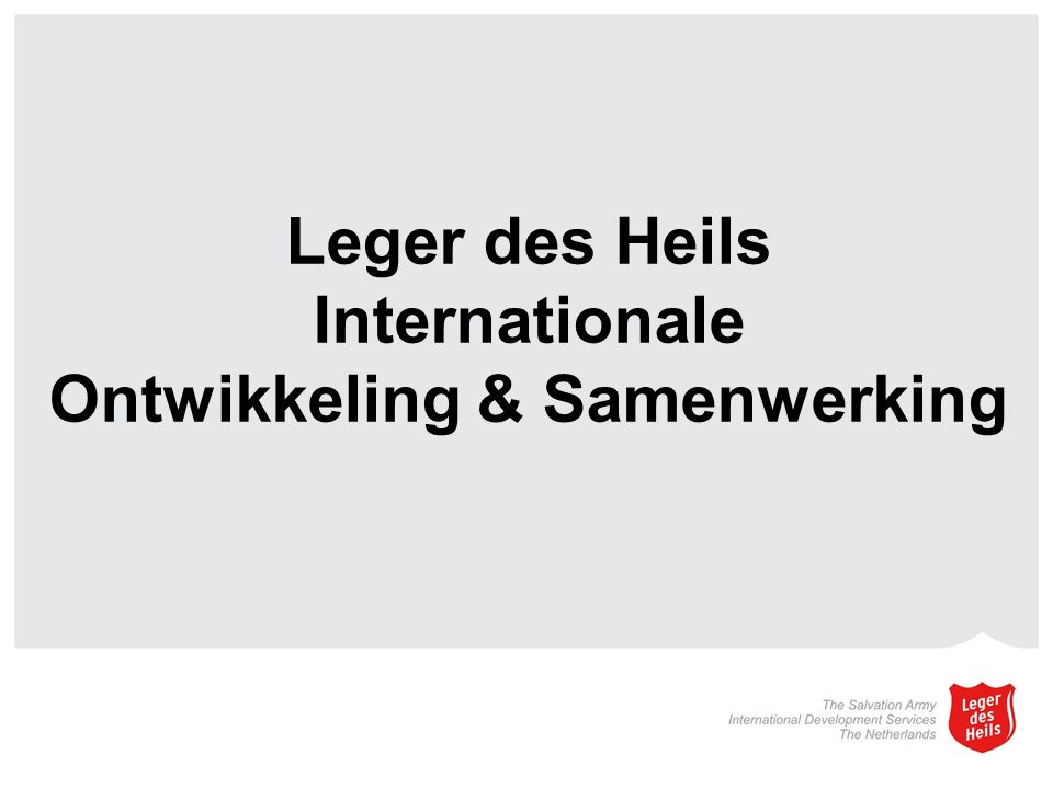 Leger des Heils Internationale Ontwikkeling & Samenwerking