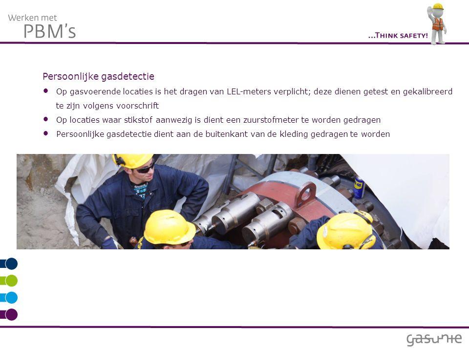 Persoonlijke gasdetectie Op gasvoerende locaties is het dragen van LEL-meters verplicht; deze dienen getest en gekalibreerd te zijn volgens voorschrif
