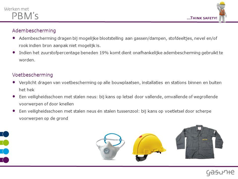 Adembescherming Adembescherming dragen bij mogelijke blootstelling aan gassen/dampen, stofdeeltjes, nevel en/of rook indien bron aanpak niet mogelijk