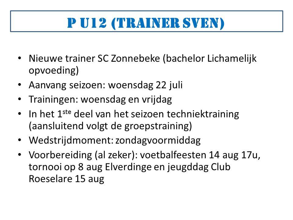 Nieuwe trainer SC Zonnebeke (bachelor Lichamelijk opvoeding) Aanvang seizoen: woensdag 22 juli Trainingen: woensdag en vrijdag In het 1 ste deel van het seizoen techniektraining (aansluitend volgt de groepstraining) Wedstrijdmoment: zondagvoormiddag Voorbereiding (al zeker): voetbalfeesten 14 aug 17u, tornooi op 8 aug Elverdinge en jeugddag Club Roeselare 15 aug P u12 (trainer Sven)