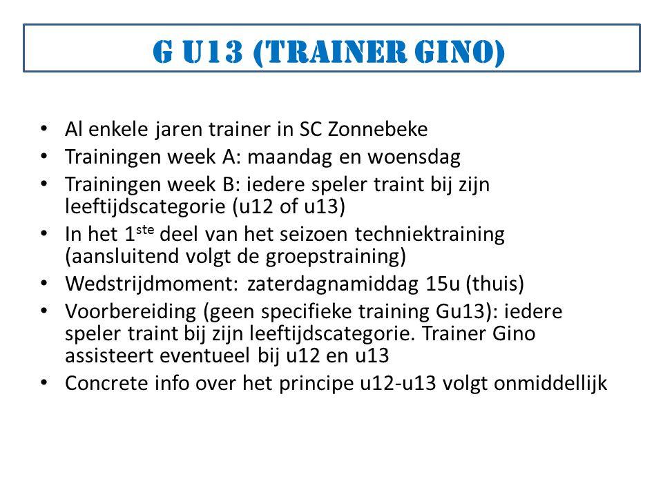 Al enkele jaren trainer in SC Zonnebeke Trainingen week A: maandag en woensdag Trainingen week B: iedere speler traint bij zijn leeftijdscategorie (u12 of u13) In het 1 ste deel van het seizoen techniektraining (aansluitend volgt de groepstraining) Wedstrijdmoment: zaterdagnamiddag 15u (thuis) Voorbereiding (geen specifieke training Gu13): iedere speler traint bij zijn leeftijdscategorie.