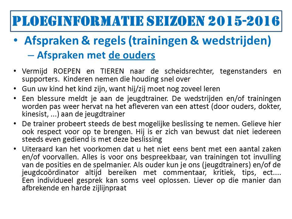 Ploeginformatie seizoen 2015-2016 Afspraken & regels (trainingen & wedstrijden) – Afspraken met de ouders Vermijd ROEPEN en TIEREN naar de scheidsrechter, tegenstanders en supporters.