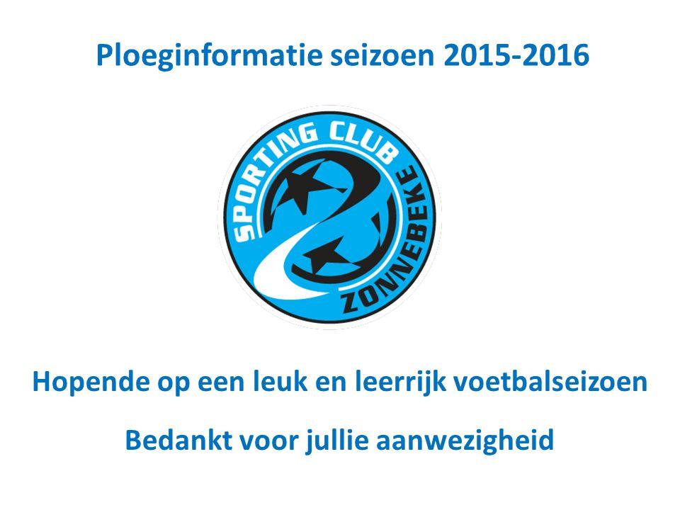 Hopende op een leuk en leerrijk voetbalseizoen Bedankt voor jullie aanwezigheid Ploeginformatie seizoen 2015-2016