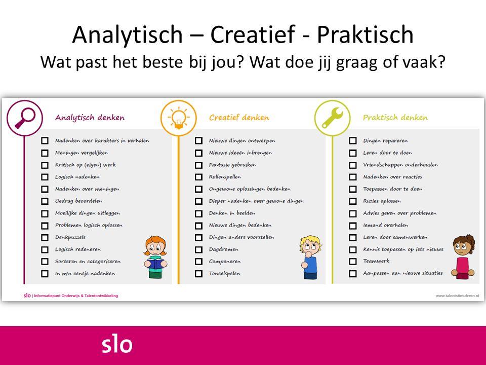 Analytisch – Creatief - Praktisch Wat past het beste bij jou? Wat doe jij graag of vaak?