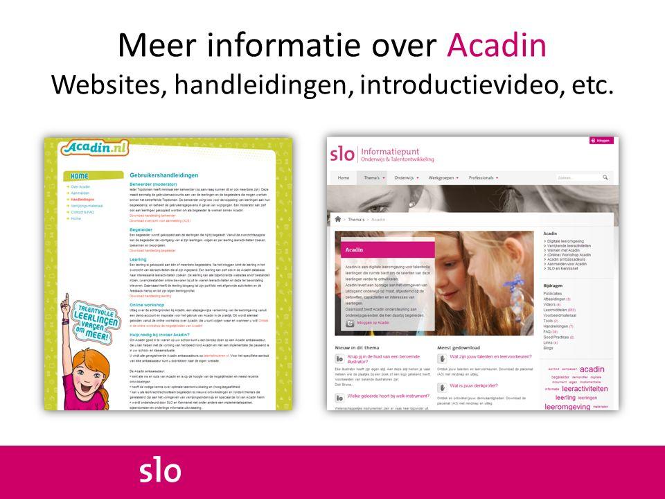 Meer informatie over Acadin Websites, handleidingen, introductievideo, etc.
