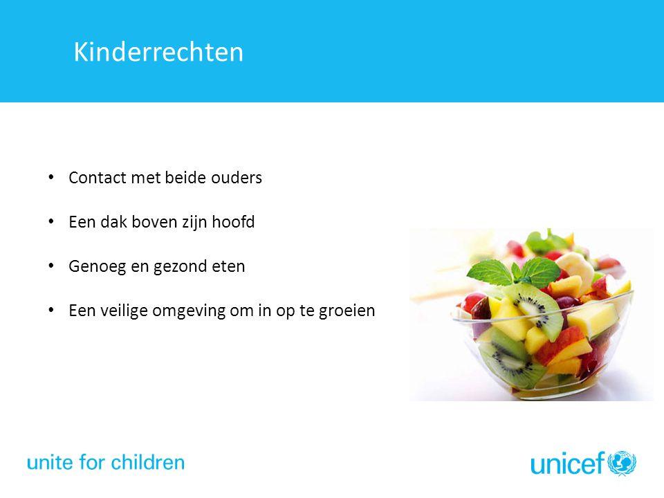 Kinderrechten Contact met beide ouders Een dak boven zijn hoofd Genoeg en gezond eten Een veilige omgeving om in op te groeien Kinderrechten