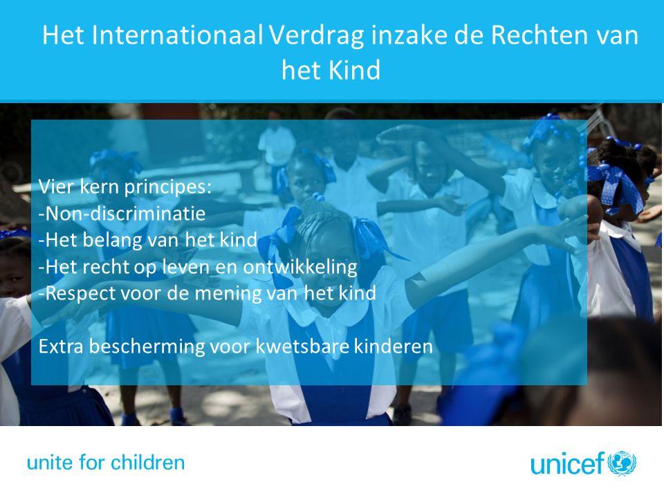 Vier kern principes: -Non-discriminatie -Het belang van het kind -Het recht op leven en ontwikkeling -Respect voor de mening van het kind Extra bescherming voor kwetsbare kinderen Het Internationaal Verdrag inzake de Rechten van het Kind