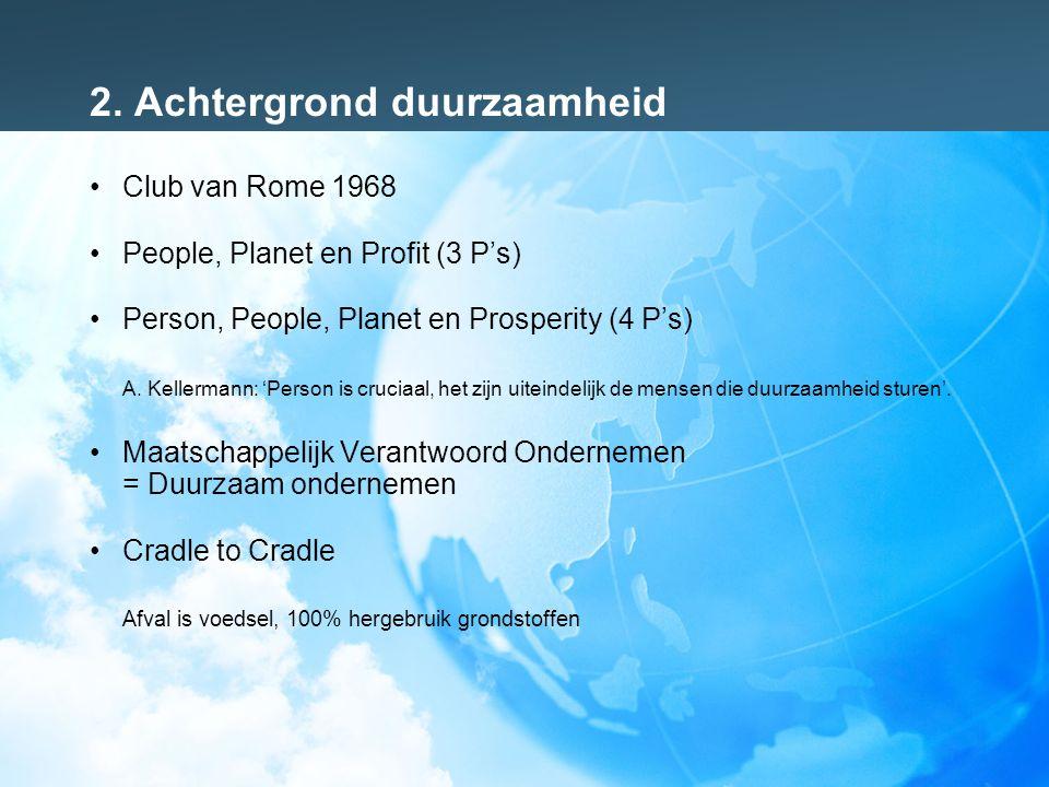 2. Achtergrond duurzaamheid Club van Rome 1968 People, Planet en Profit (3 P's) Person, People, Planet en Prosperity (4 P's) A. Kellermann: 'Person is