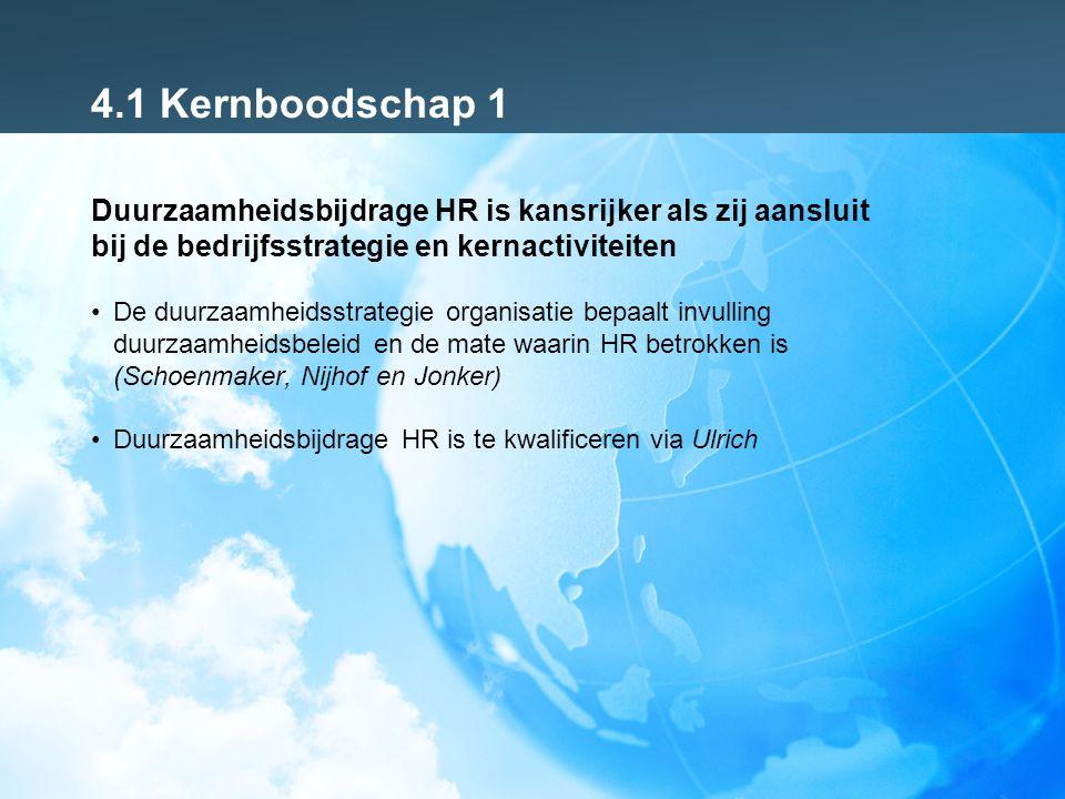4.1 Kernboodschap 1 Duurzaamheidsbijdrage HR is kansrijker als zij aansluit bij de bedrijfsstrategie en kernactiviteiten De duurzaamheidsstrategie organisatie bepaalt invulling duurzaamheidsbeleid en de mate waarin HR betrokken is (Schoenmaker, Nijhof en Jonker) Duurzaamheidsbijdrage HR is te kwalificeren via Ulrich