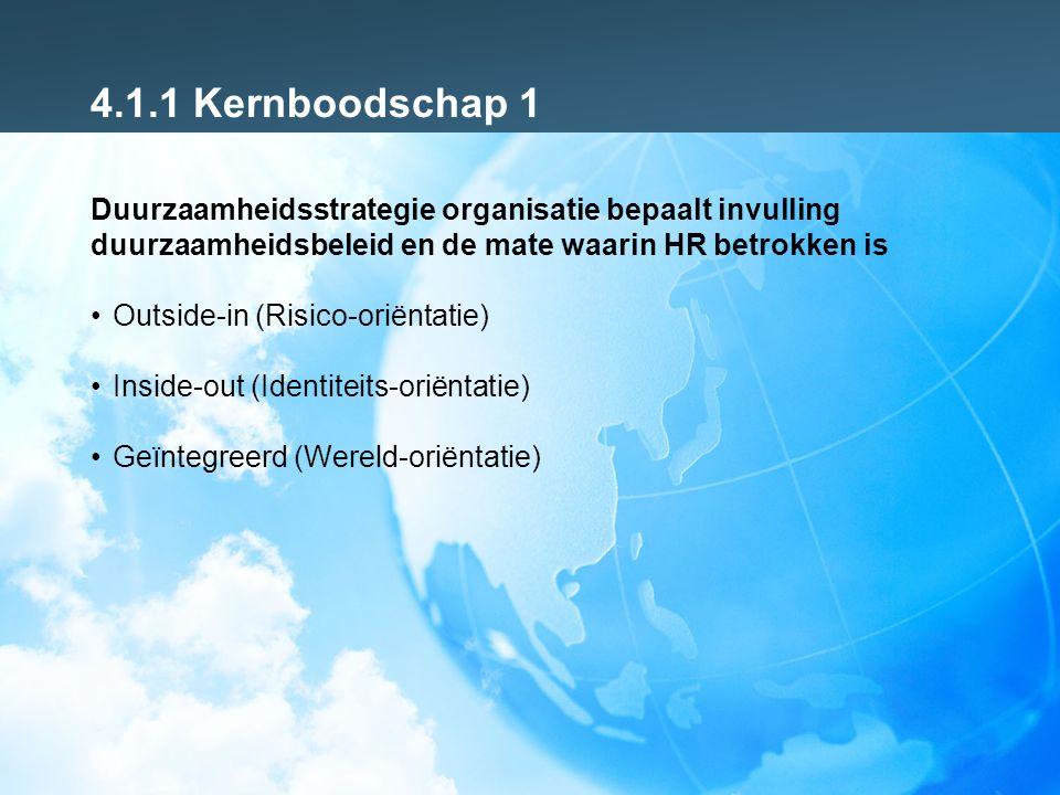4.1.2 Kernboodschap 1 Duurzame HR rollen naar de indeling Ulrich Strategic partner -Pro-actief adviseren op basis van trends in samenleving (bonusallergie samenleving en komende structurele tekorten op arbeidsmarkten) -Versterken van identiteit en vertaling naar werkgeverschap en leiderschap -Het geweten van de organisatie Change agent -Begeleiden van cultuurverandering -Leiderschapsprogramma's verbinden aan duurzaamheiddoelstellingen -Duurzaamheid vertalen naar in-, door-, en uitstroombeleid en beloningsbeleid -Ontwikkelen Nieuwe Werken Administrative expert -Uitvoering en beheer duurzaam HR beleid en regelingen zoals opleidingsregelingen, groene arbeidsvoorwaarden Employee champion -Medewerkers ondersteunen bij vitaliteit, duurzame inzetbaarheid en arbeidsmarkt positie -Talentmanagement en ruimte voor maatwerk afspraken -Ondersteuning bij Nieuwe Werken