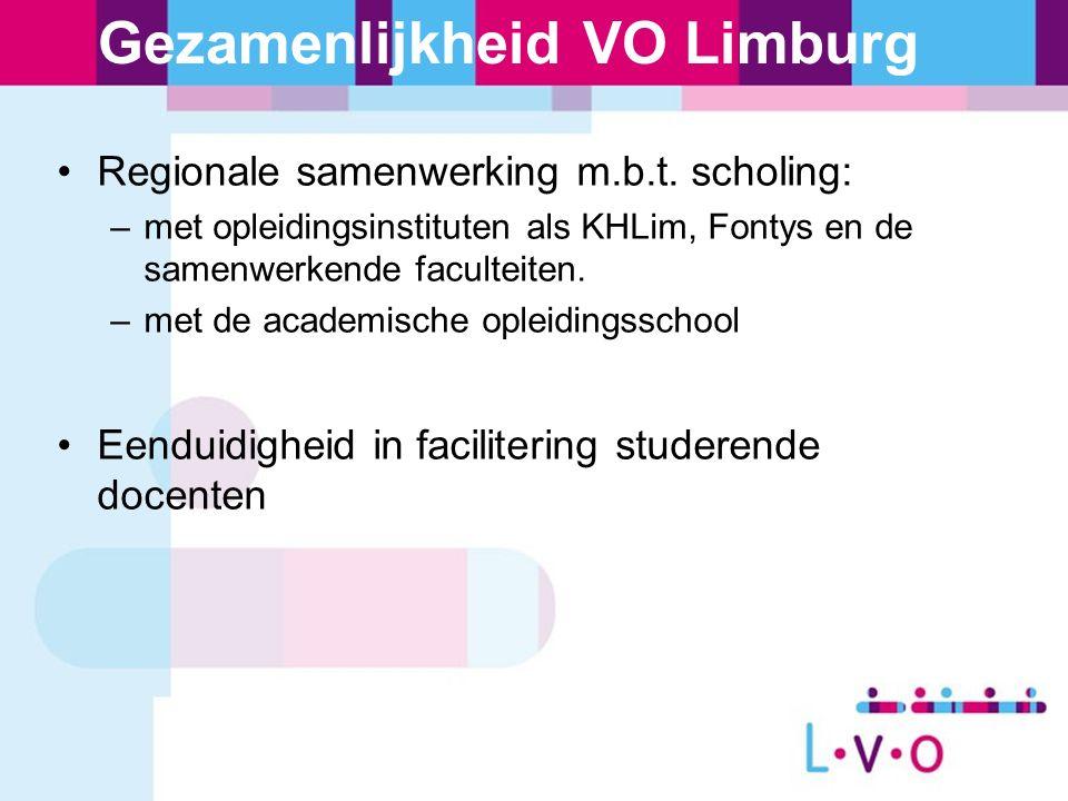 Gezamenlijkheid VO Limburg Regionale samenwerking m.b.t. scholing: –met opleidingsinstituten als KHLim, Fontys en de samenwerkende faculteiten. –met d