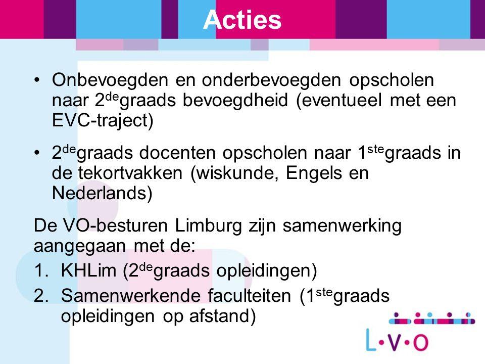 Acties Onbevoegden en onderbevoegden opscholen naar 2 de graads bevoegdheid (eventueel met een EVC-traject) 2 de graads docenten opscholen naar 1 ste graads in de tekortvakken (wiskunde, Engels en Nederlands) De VO-besturen Limburg zijn samenwerking aangegaan met de: 1.KHLim (2 de graads opleidingen) 2.Samenwerkende faculteiten (1 ste graads opleidingen op afstand)