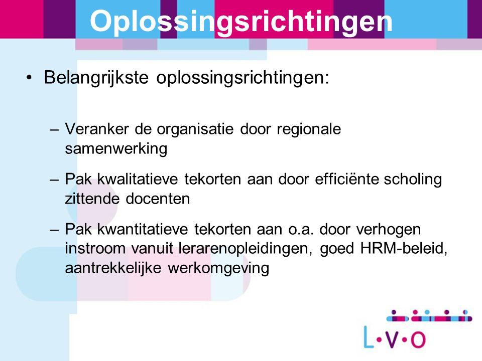 Oplossingsrichtingen Belangrijkste oplossingsrichtingen: –Veranker de organisatie door regionale samenwerking –Pak kwalitatieve tekorten aan door effi
