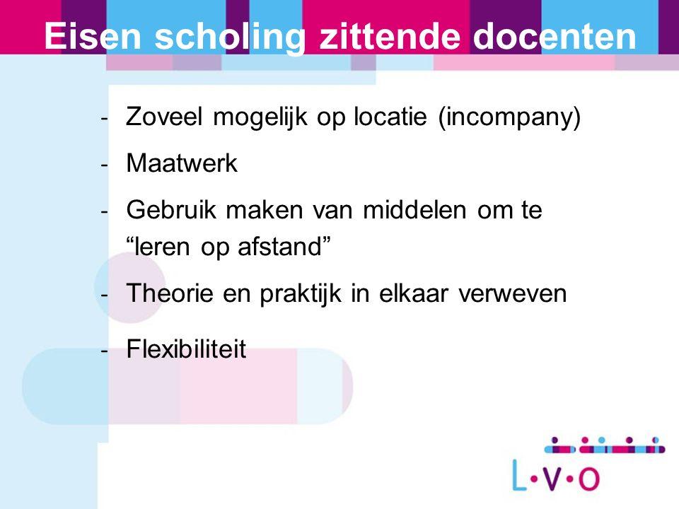 """Eisen scholing zittende docenten - Zoveel mogelijk op locatie (incompany) - Maatwerk - Gebruik maken van middelen om te """"leren op afstand"""" - Theorie e"""