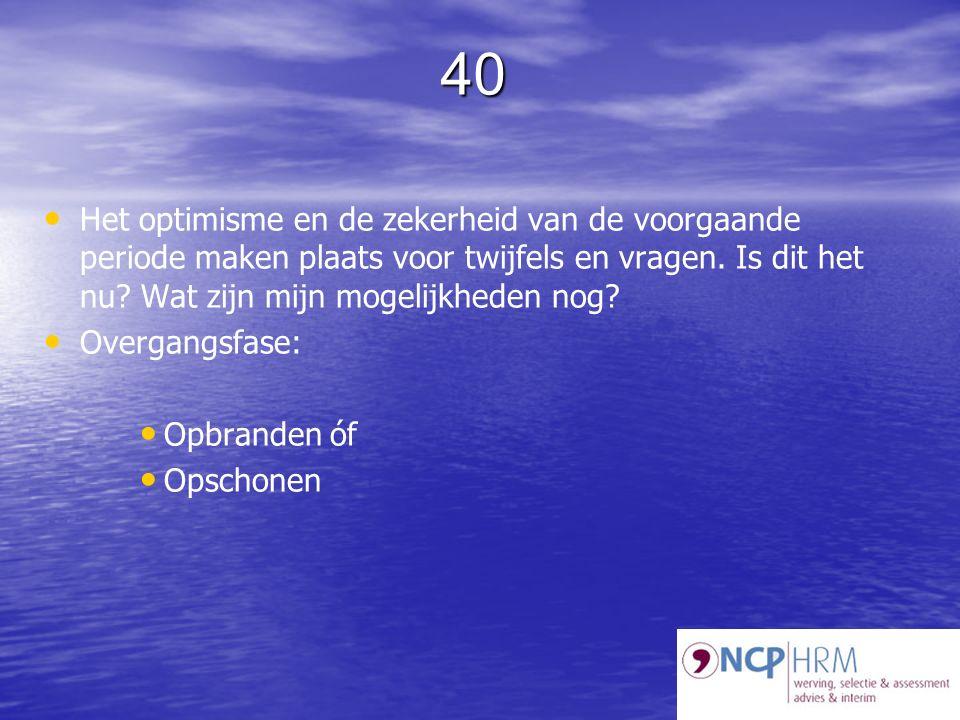 40 Het optimisme en de zekerheid van de voorgaande periode maken plaats voor twijfels en vragen.