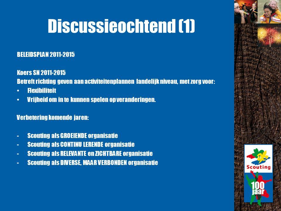 Discussieochtend (1) BELEIDSPLAN 2011-2015 Koers SN 2011-2015 Betreft richting geven aan activiteitenplannen landelijk niveau, met zorg voor: Flexibiliteit Vrijheid om in te kunnen spelen op veranderingen.
