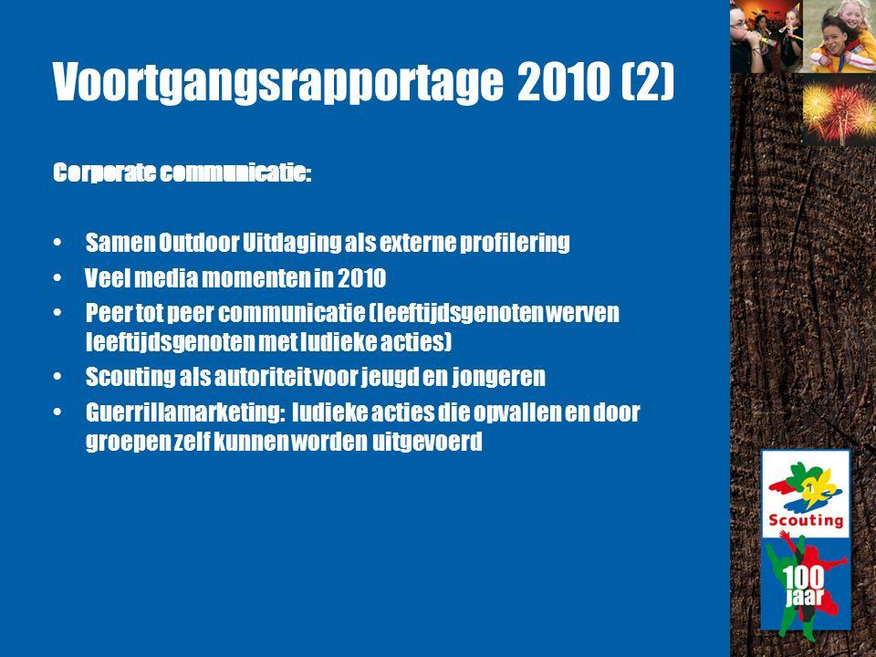 Voortgangsrapportage 2010 (3) Spelvisie en methode: Nieuwe speltaknamen: bevers, welpen, scouts, explorers en roverscouts.