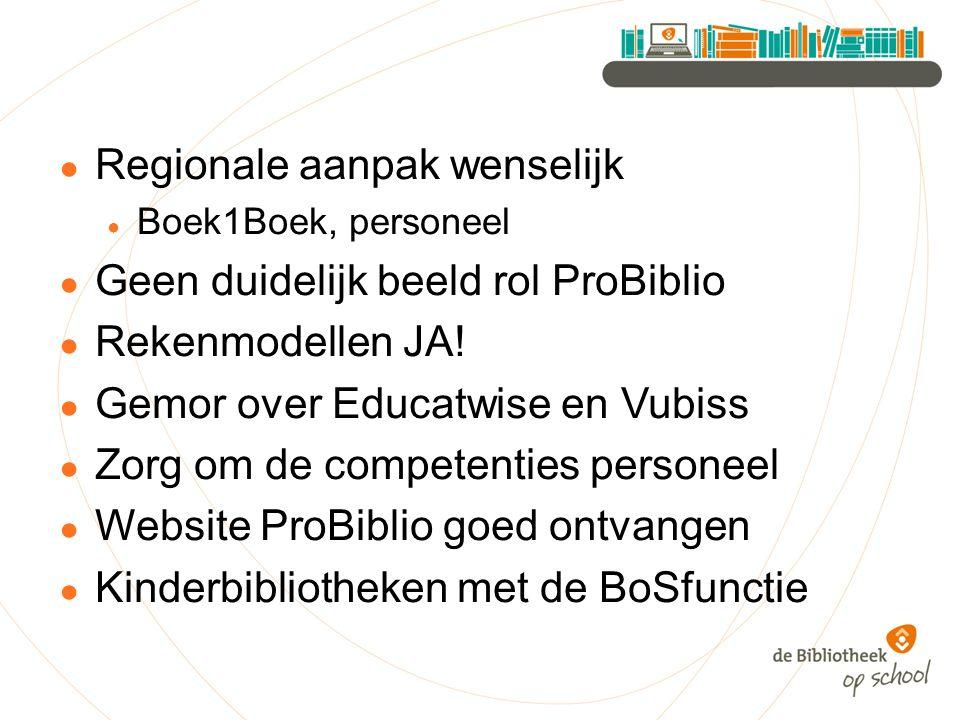 ● Regionale aanpak wenselijk ● Boek1Boek, personeel ● Geen duidelijk beeld rol ProBiblio ● Rekenmodellen JA.