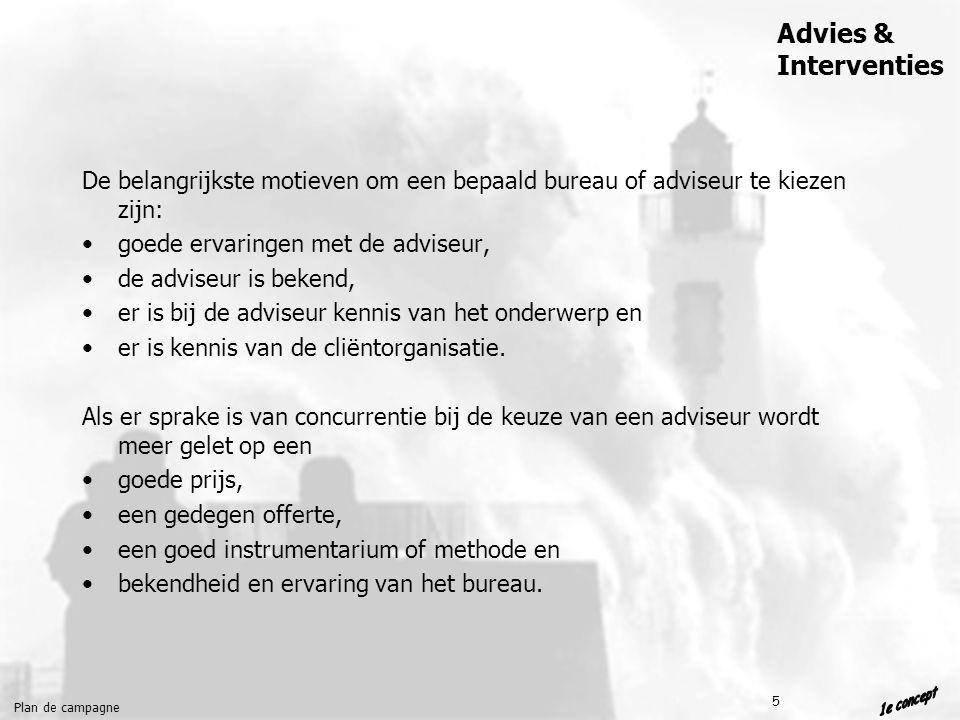 Plan de campagne Advies & Interventies 5 De belangrijkste motieven om een bepaald bureau of adviseur te kiezen zijn: goede ervaringen met de adviseur, de adviseur is bekend, er is bij de adviseur kennis van het onderwerp en er is kennis van de cliëntorganisatie.