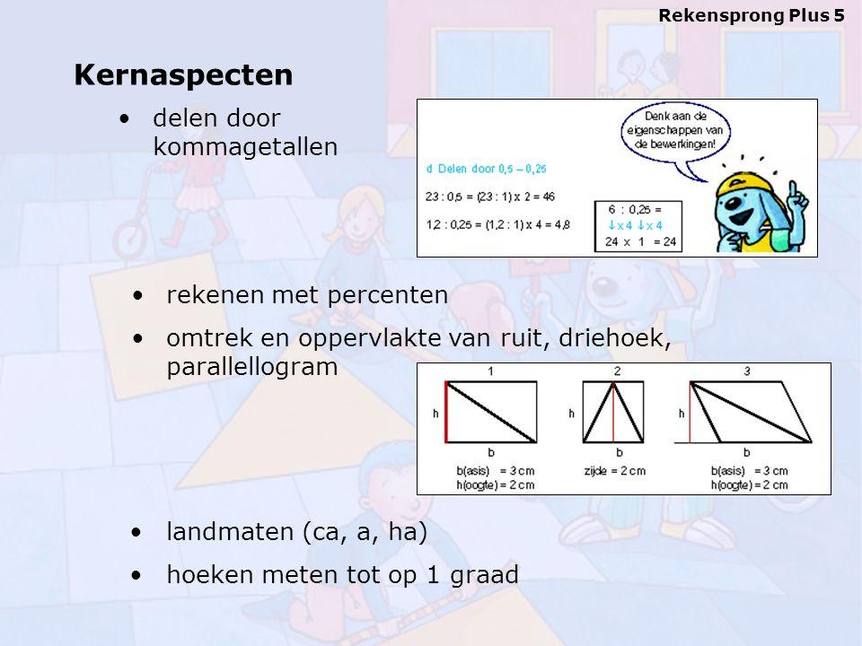 delen door kommagetallen Rekensprong Plus 5 landmaten (ca, a, ha) hoeken meten tot op 1 graad rekenen met percenten omtrek en oppervlakte van ruit, driehoek, parallellogram Kernaspecten