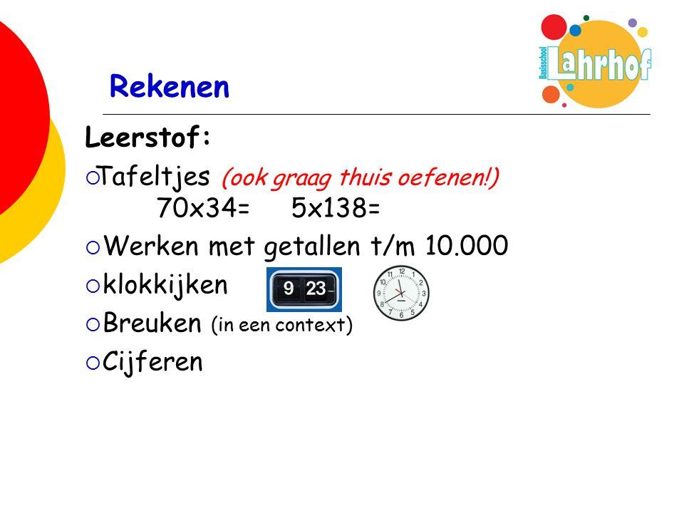 Rekenen Leerstof:  Tafeltjes (ook graag thuis oefenen!) 70x34= 5x138=  Werken met getallen t/m 10.000  klokkijken  Breuken (in een context)  Cijferen