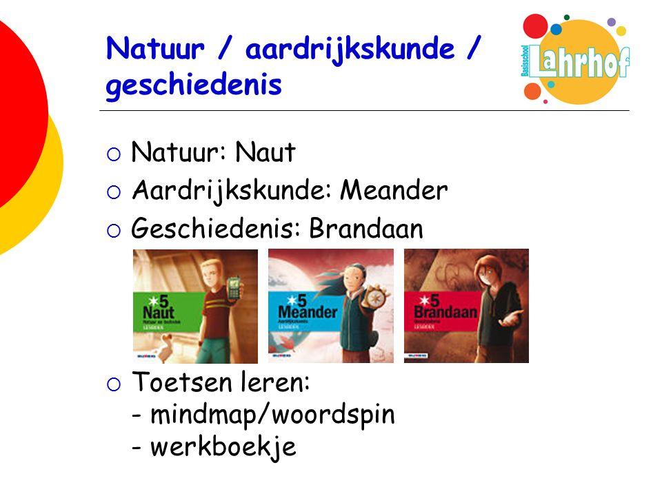 Natuur / aardrijkskunde / geschiedenis  Natuur: Naut  Aardrijkskunde: Meander  Geschiedenis: Brandaan  Toetsen leren: - mindmap/woordspin - werkboekje