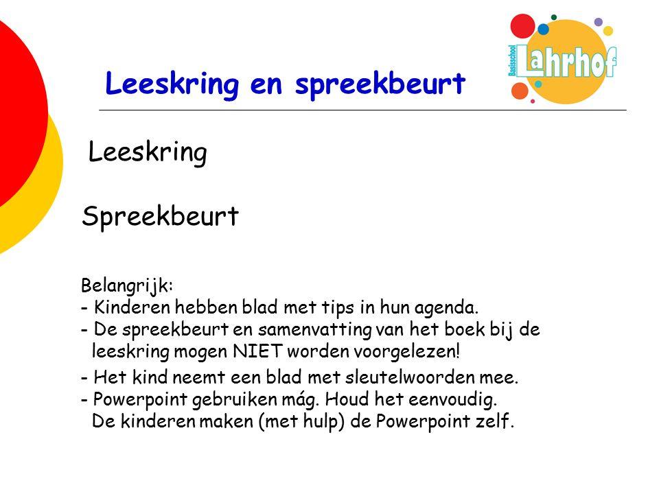 Leeskring en spreekbeurt Leeskring Spreekbeurt Belangrijk: - Kinderen hebben blad met tips in hun agenda.