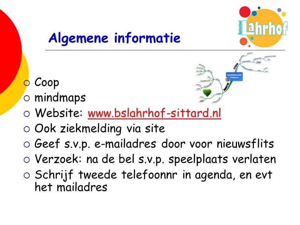 Algemene informatie  Coop  mindmaps  Website: www.bslahrhof-sittard.nlwww.bslahrhof-sittard.nl  Ook ziekmelding via site  Geef s.v.p.
