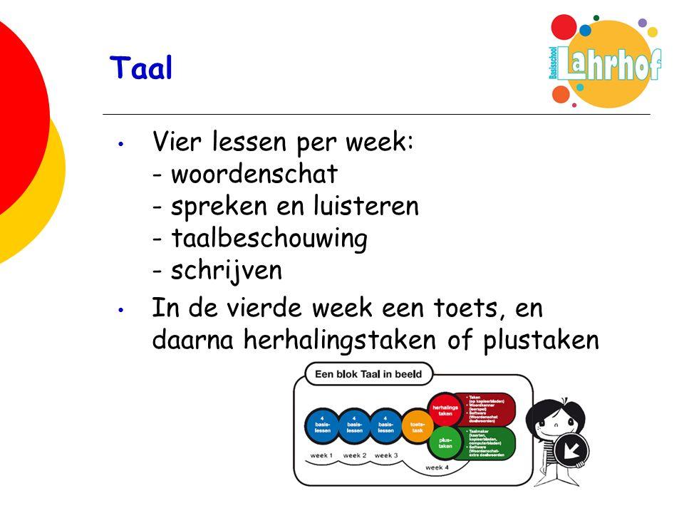 Taal Vier lessen per week: - woordenschat - spreken en luisteren - taalbeschouwing - schrijven In de vierde week een toets, en daarna herhalingstaken of plustaken