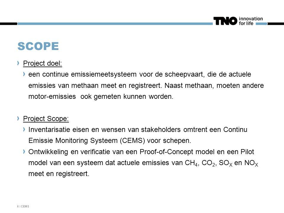 SCOPE Project doel: een continue emissiemeetsysteem voor de scheepvaart, die de actuele emissies van methaan meet en registreert.