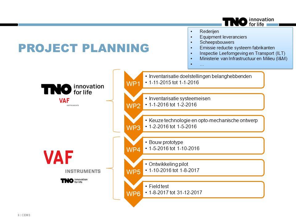 PROJECT PLANNING WP1 Inventarisatie doelstellingen belanghebbenden 1-11-2015 tot 1-1-2016 WP2 Inventarisatie systeemeisen 1-1-2016 tot 1-2-2016 WP3 Keuze technologie en opto-mechanische ontwerp 1-2-2016 tot 1-5-2016 WP4 Bouw prototype 1-5-2016 tot 1-10-2016 WP5 Ontwikkeling pilot 1-10-2016 tot 1-8-2017 WP6 Field test 1-8-2017 tot 31-12-2017 6 | CEMS Rederijen Equipment leveranciers Scheepsbouwers Emissie reductie systeem fabrikanten Inspectie Leefomgeving en Transport (ILT) Ministerie van Infrastructuur en Milieu (I&M) … Rederijen Equipment leveranciers Scheepsbouwers Emissie reductie systeem fabrikanten Inspectie Leefomgeving en Transport (ILT) Ministerie van Infrastructuur en Milieu (I&M) …