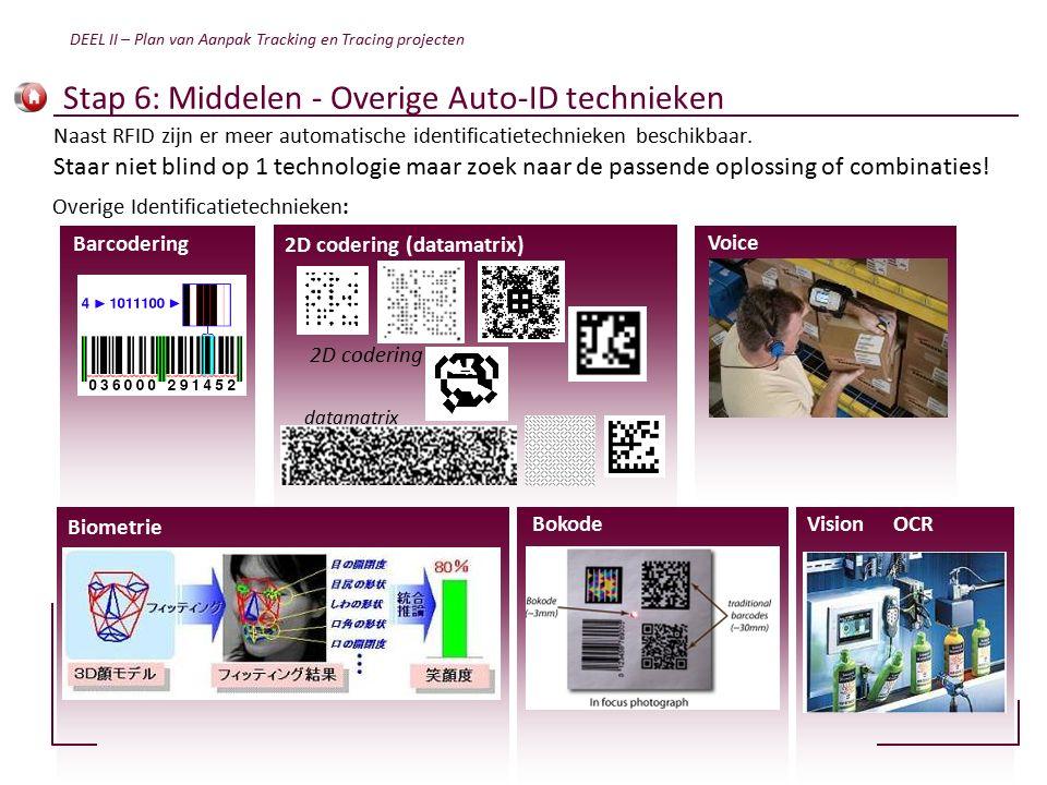 Stap 6: Middelen - Overige Auto-ID technieken Overige Identificatietechnieken: Naast RFID zijn er meer automatische identificatietechnieken beschikbaar.