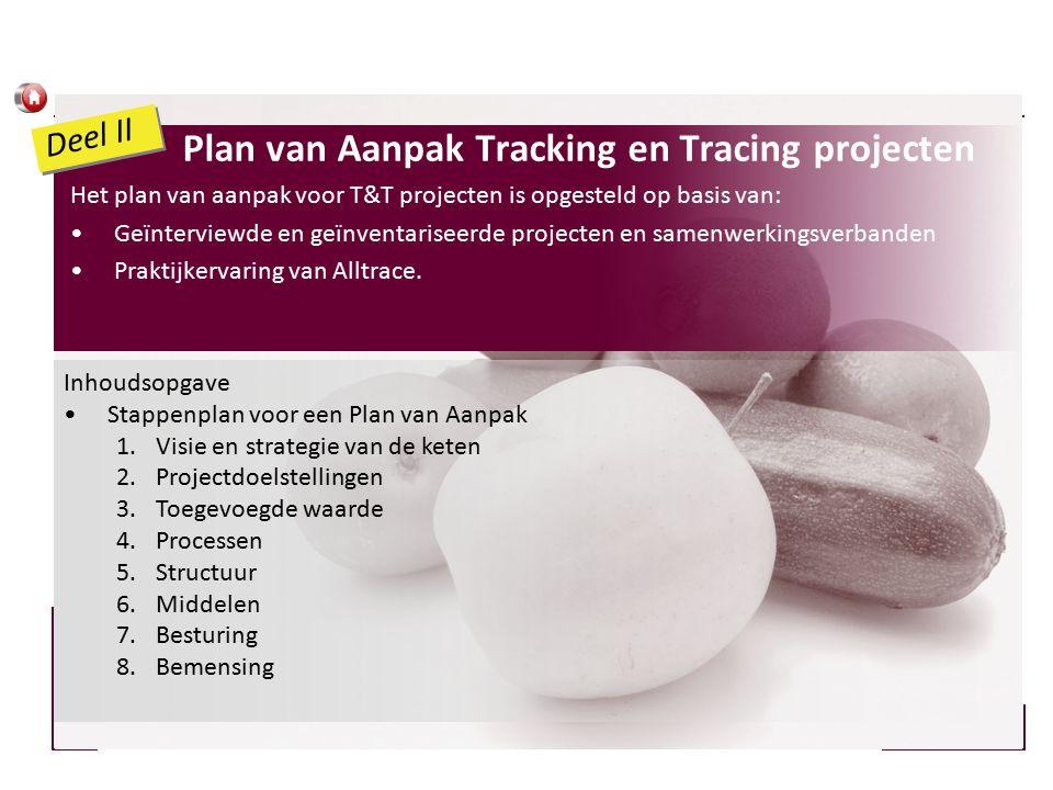 Plan van Aanpak Tracking en Tracing projecten Het plan van aanpak voor T&T projecten is opgesteld op basis van: Geïnterviewde en geïnventariseerde projecten en samenwerkingsverbanden Praktijkervaring van Alltrace.