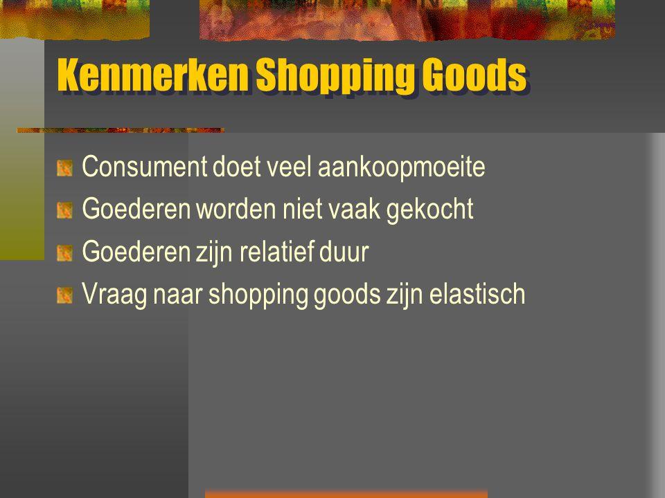 Kenmerken Shopping Goods Consument doet veel aankoopmoeite Goederen worden niet vaak gekocht Goederen zijn relatief duur Vraag naar shopping goods zijn elastisch