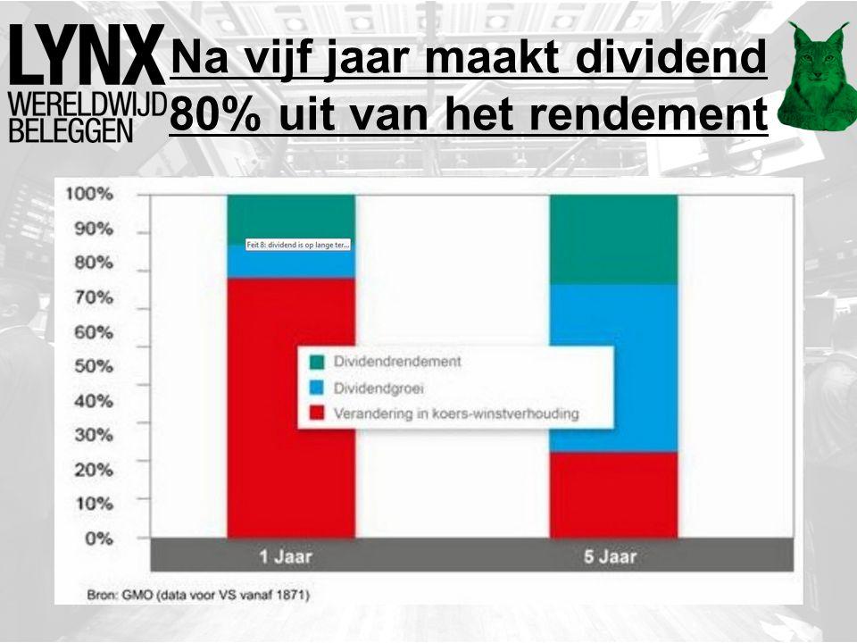Na vijf jaar maakt dividend 80% uit van het rendement