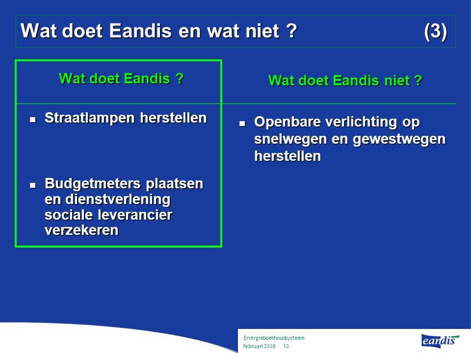 Energieboekhoudsysteem februari 2008 9 Wat doet Eandis en wat niet .