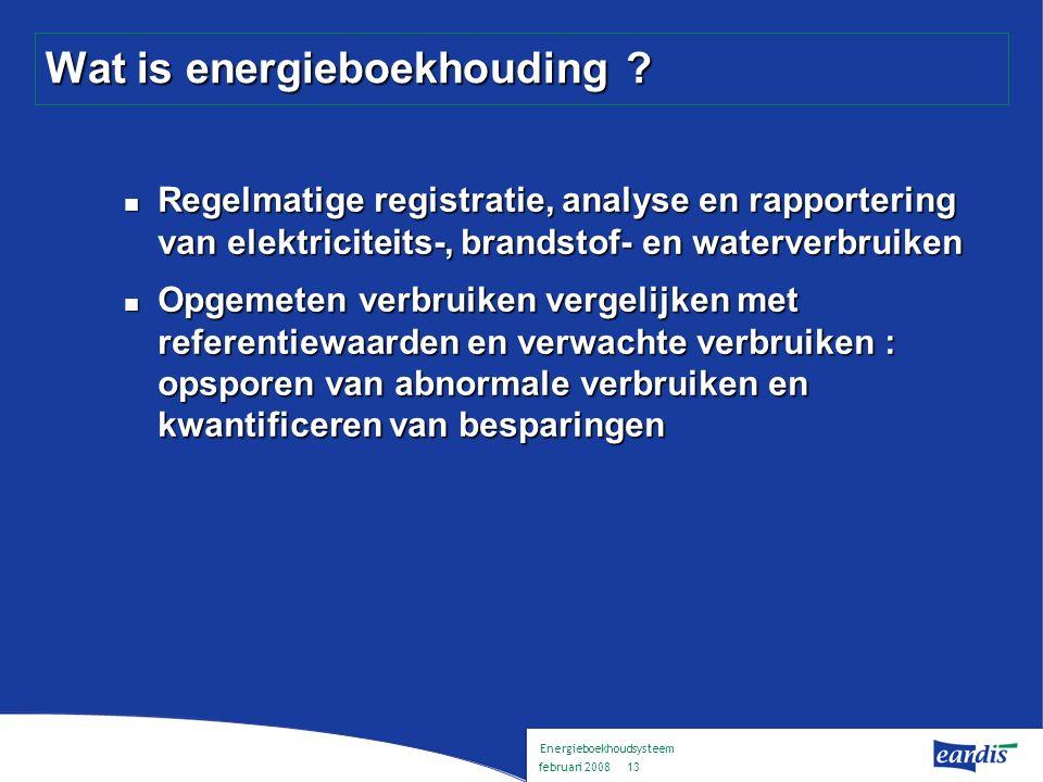 Energieboekhoudsysteem februari 2008 12 Inhoud Voorstelling Eandis Energieboekhouding : wat en waarom .