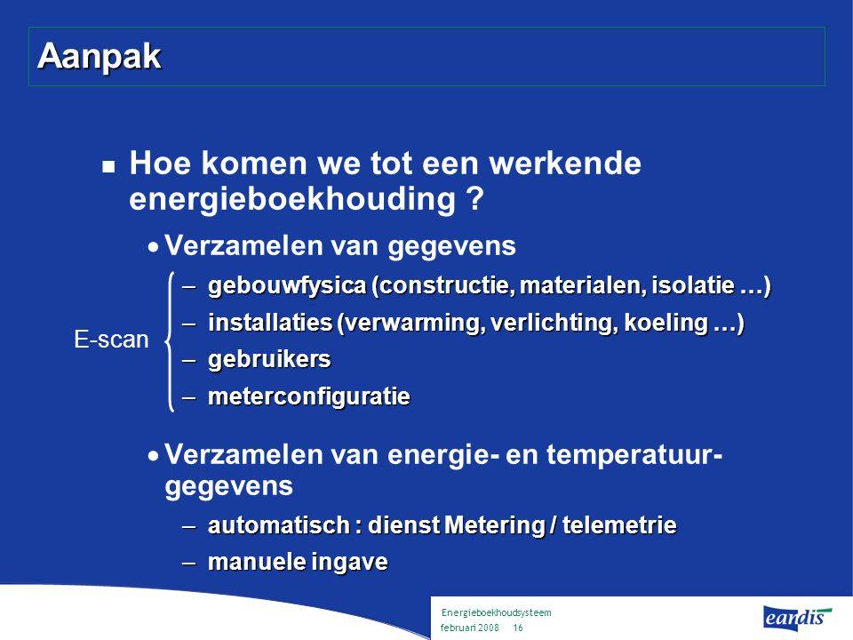 Energieboekhoudsysteem februari 2008 15 Inhoud Voorstelling Eandis Energieboekhouding : wat en waarom .