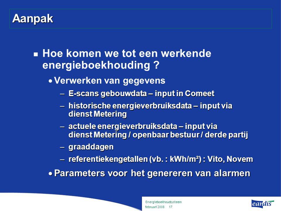 Energieboekhoudsysteem februari 2008 16 Aanpak Hoe komen we tot een werkende energieboekhouding .