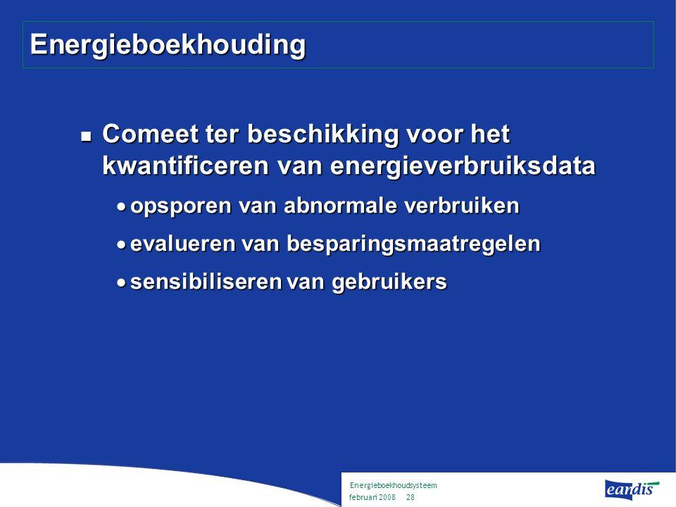 Energieboekhoudsysteem februari 2008 27 Samenwerking DNB DNB kan uw school bijstaan : DNB kan uw school bijstaan :  Energieboekhouding  REG-premies  Sensibilisering
