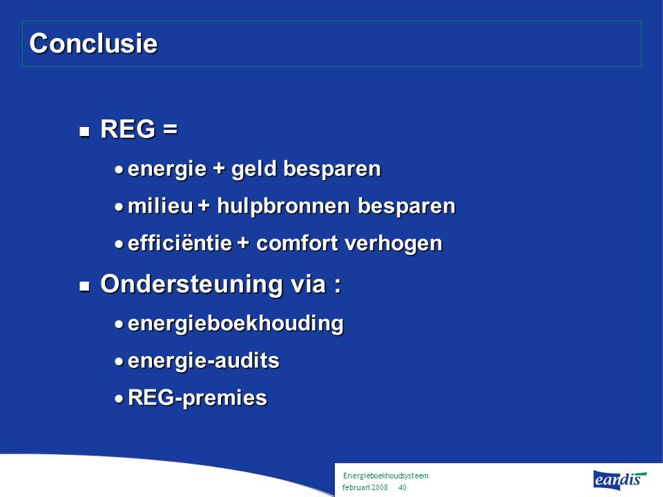 Energieboekhoudsysteem februari 2008 39 Inhoud Voorstelling Eandis Energieboekhouding : wat en waarom .