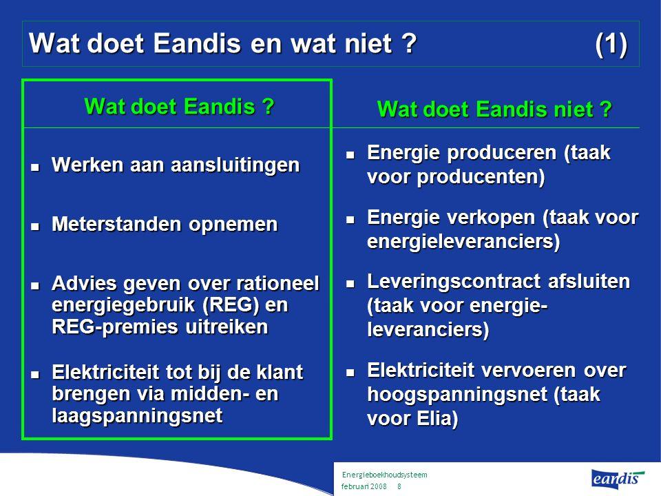 Energieboekhoudsysteem februari 2008 7 Eandis Elektriciteit - aardgas - netten - distributie Elektriciteit - aardgas - netten - distributie Eandis voert exploitatietaken uit voor acht distributienetbeheerders voor elektriciteit en aardgas : Gaselwest, IGAO, IMEA, Imewo, Intergem, Iveka, Iverlek en Sibelgas Eandis voert exploitatietaken uit voor acht distributienetbeheerders voor elektriciteit en aardgas : Gaselwest, IGAO, IMEA, Imewo, Intergem, Iveka, Iverlek en Sibelgas