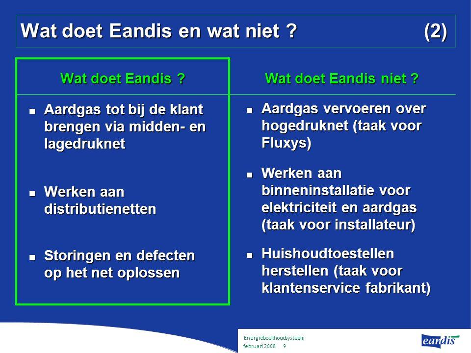 Energieboekhoudsysteem februari 2008 8 Wat doet Eandis en wat niet .