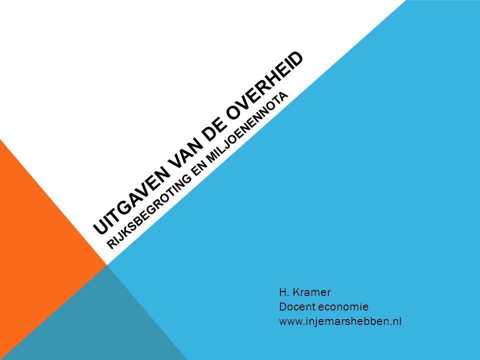 UITGAVEN VAN DE OVERHEID RIJKSBEGROTING EN MILJOENENNOTA H. Kramer Docent economie www.injemarshebben.nl