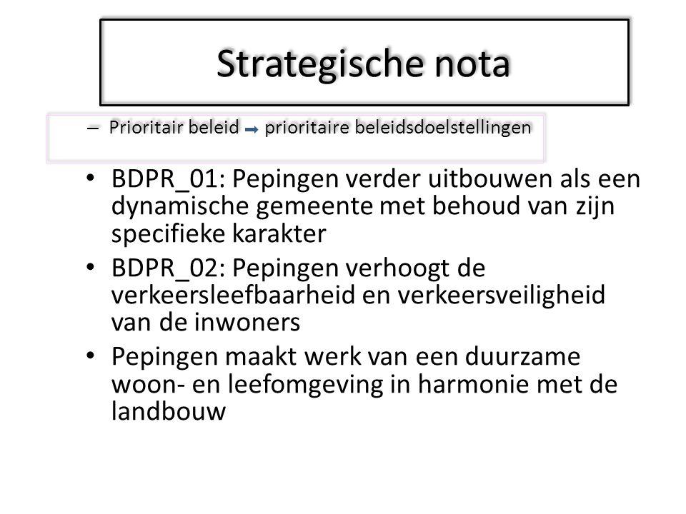 Strategische nota -Prioritair beleid - Overig beleid Keuzes maken Strategische nota:Overig beleid: Gelijkblijvend beleid = vervat in 1 actie = hier geen doelstellingen maar enkel middelen Overig beleidActieplannenActiesMiddelen