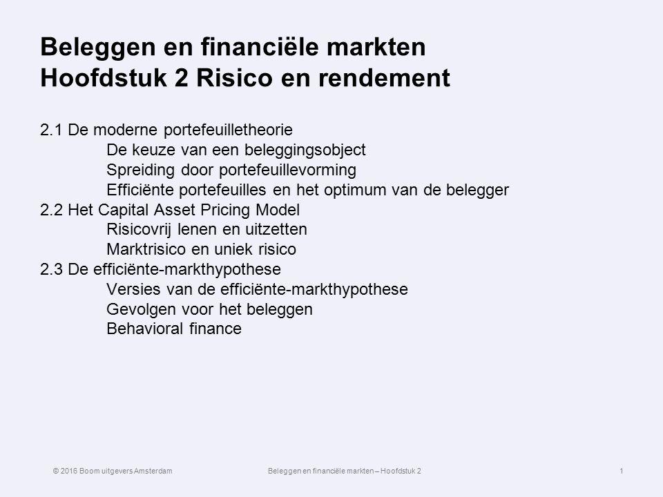 Beleggen en financiële markten Hoofdstuk 2 Risico en rendement 2.1 De moderne portefeuilletheorie De keuze van een beleggingsobject Spreiding door por